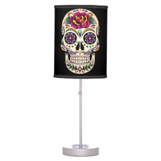 Day of the Dead Sugar Skull with Rose Lamp