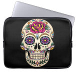 Day of the Dead Sugar Skull with Rose Laptop Computer Sleeve