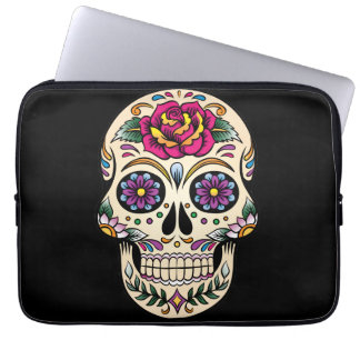 Day of the Dead Sugar Skull with Rose Laptop Sleeve