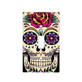 Day of the Dead Sugar Skull with Rose Light Switch Cover