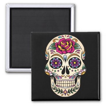 BlackBrookMagnetsEtc Day of the Dead Sugar Skull with Rose Magnet