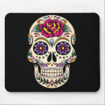 "Day of the Dead Sugar Skull with Rose Mouse Pad<br><div class=""desc"">Sugar skulls are very trendy!  A colorful day of the dead sugar skull with pretty flowery details.  Gothic spooky skeleton imagery.  Great urban art.  Customize by adding text and/or changing the background color.     Day of the dead vector image extended license from Fotolia.com - &#169; tairygreene - Fotolia.com.</div>"