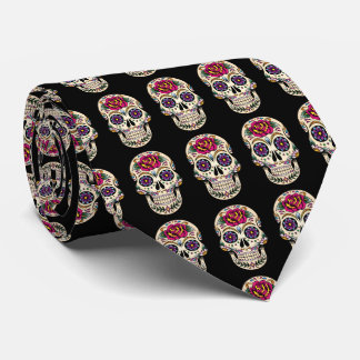 Day of the Dead Sugar Skull with Rose Neck Tie