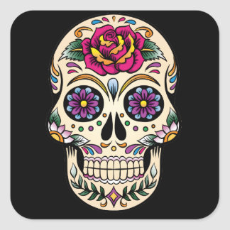 Day of the Dead Sugar Skull with Rose Sticker