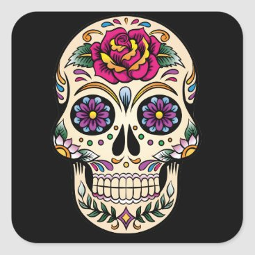 BlackBrookMagnetsEtc Day of the Dead Sugar Skull with Rose Sticker