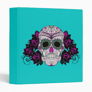 Day of the Dead Sugar Skull with Roses 3 Ring Binder