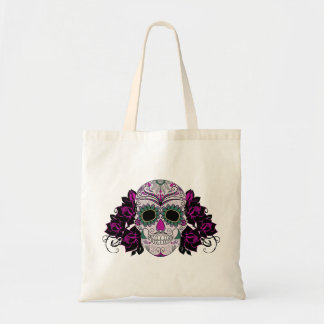Day of the Dead Sugar Skull with Roses Budget Tote Bag