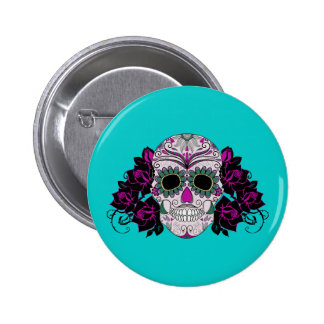 Day of the Dead Sugar Skull with Roses Pinback Buttons
