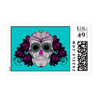 Day of the Dead Sugar Skull with Roses Postage Stamp
