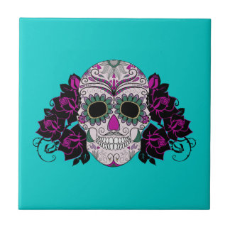 Day of the Dead Sugar Skull with Roses Tile