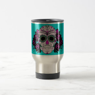 Day of the Dead Sugar Skull with Roses Travel Mug