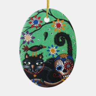Day Of The Dead, Sugar Skulls, Black Cat, By Lori Ceramic Ornament