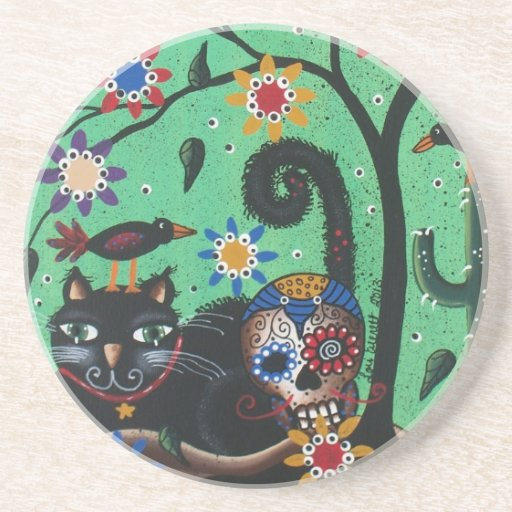 Day Of The Dead, Sugar Skulls, Black Cat, By Lori Beverage Coasters