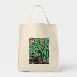 Day Of The Dead, Sugar Skulls, Black Cat, By Lori Tote Bag