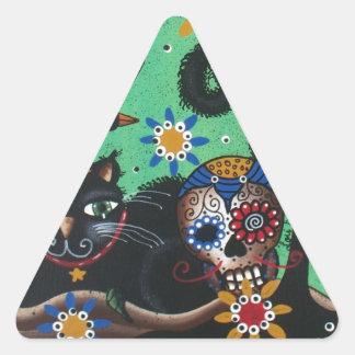 Day Of The Dead, Sugar Skulls, Black Cat, By Lori Triangle Sticker