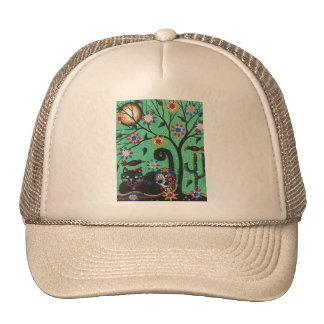 Day Of The Dead, Sugar Skulls, Black Cat, By Lori Trucker Hat