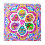 "Day of the Dead Sugar Skulls Ceramic Tile<br><div class=""desc"">This Day of the Dead Sugar Skulls Ceramic Tile features an array of colorful psychedelic calavera sugar skulls celebrating Mexico&#39;s Day of the Dead,  or Dia de los Muertos. The funky design for this Day of the Dead Sugar Skull Ceramic Tile is based on the artwork of Thaneeya McArdle.</div>"