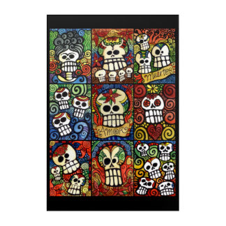 Day of the Dead Sugar Skulls Collection Acrylic Wall Art