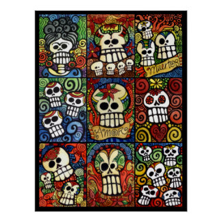 Day of the Dead Sugar Skulls Collection Poster