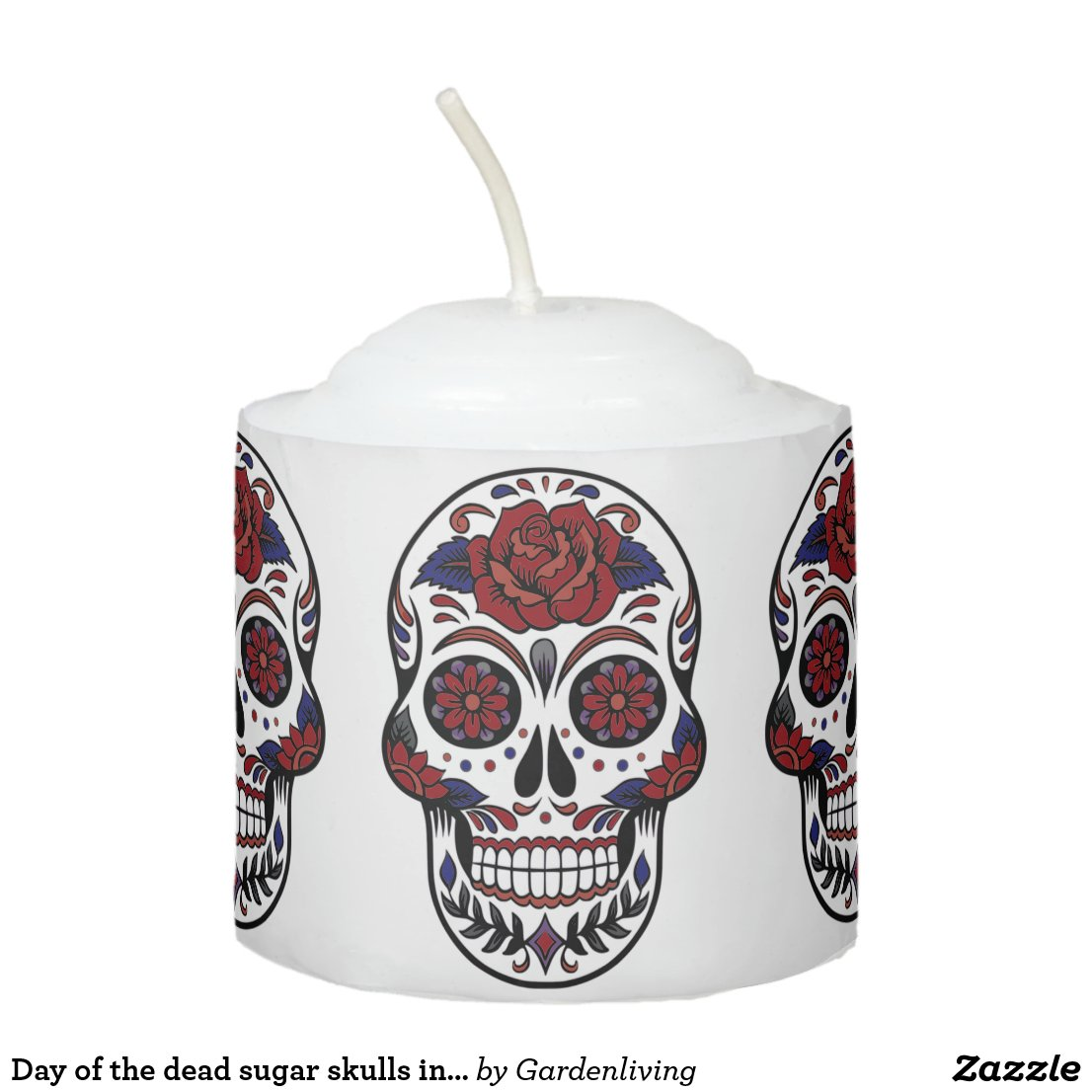 Day of the dead sugar skulls in burgundy and blue