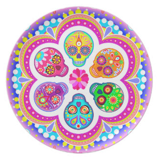 Day of the Dead Sugar Skulls Plate