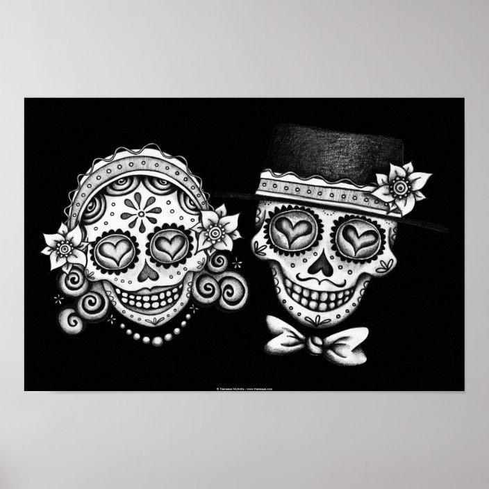 Day Of The Dead Sugar Skulls Print Or Poster Zazzle.com