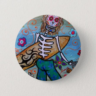 Day of the Dead Surfer Button