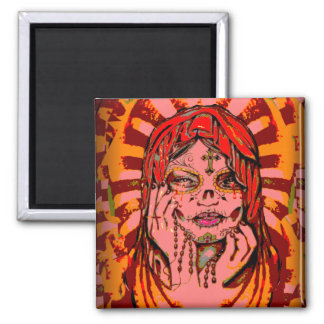 Day of the Dead Virgin Mary 2 Inch Square Magnet