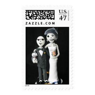 Day of the Dead Wedding Couple with Dog postage