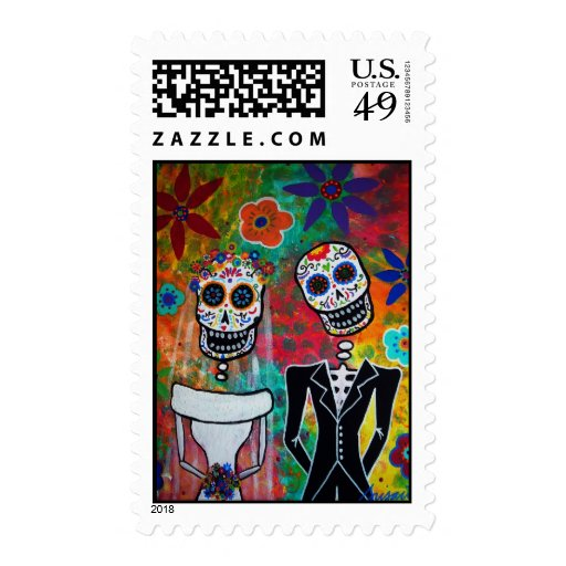 Day of the Dead Wedding Stamp Postage Stamps