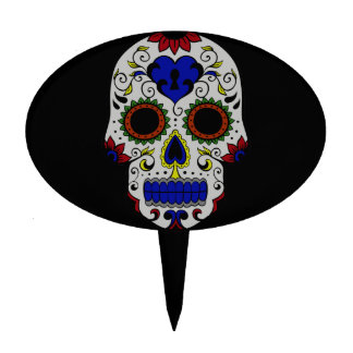 Day of the Dead with Blue Key Heart Cake Toppers