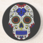 Day of the Dead with Blue Key Heart Drink Coaster