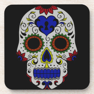 Day of the Dead with Blue Key Heart Drink Coasters