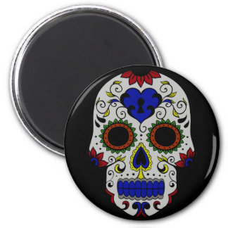 Day of the Dead with Blue Key Heart Fridge Magnet