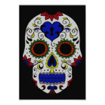 Day of the Dead with Blue Key Heart 3.5x5 Paper Invitation Card