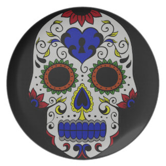 Day of the Dead with Blue Key Heart Party Plates