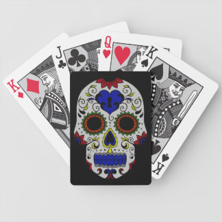 Day of the Dead with Blue Key Heart Bicycle Playing Cards