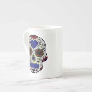 Day of the Dead with Blue Key Heart Porcelain Mugs