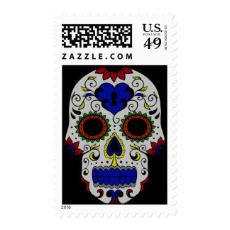 Day of the Dead with Blue Key Heart Postage Stamps