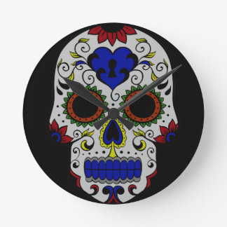 Day of the Dead with Blue Key Heart Round Clocks