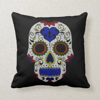 Day of the Dead with Blue Key Heart Throw Pillow