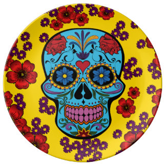 Day of the Dead with Flowers Porcelain Plate