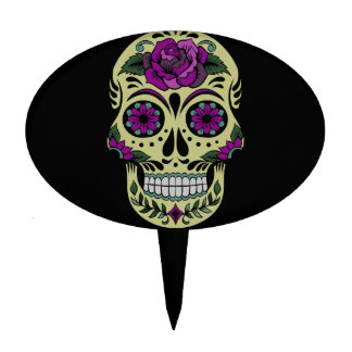 Day of the Dead with Purple Rose Cake Toppers
