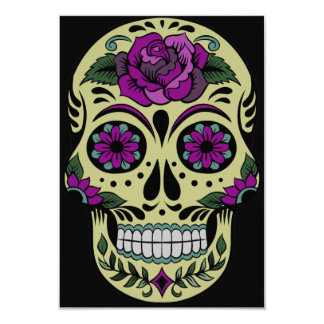 Day of the Dead with Purple Rose Card