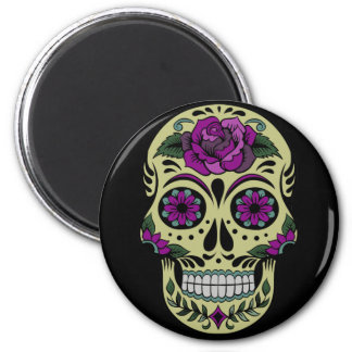 Day of the Dead with Purple Rose Refrigerator Magnet