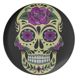 Day of the Dead with Purple Rose Plates