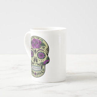 Day of the Dead with Purple Rose Porcelain Mug