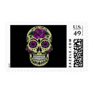 Day of the Dead with Purple Rose Postage Stamps