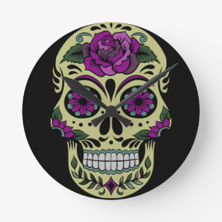 Day of the Dead with Purple Rose Round Wall Clock