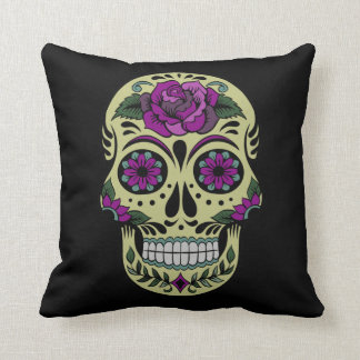 Day of the Dead with Purple Rose Throw Pillow